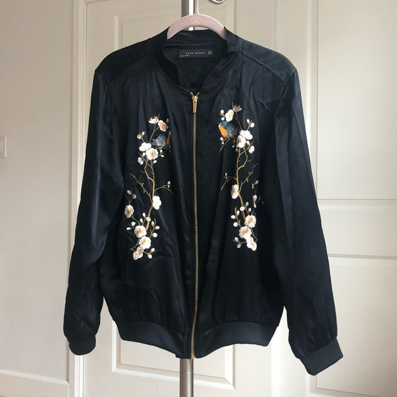 cea8b53a9 Zara bomber jacket floral embroidered black XS